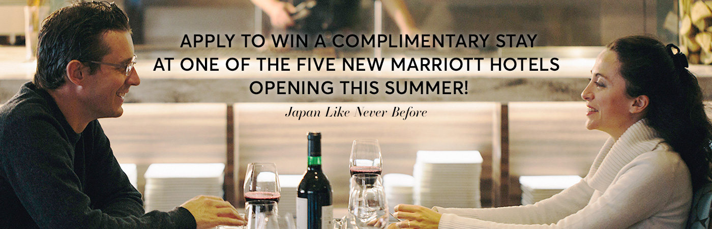 Apply to win a complimentary stay at one of the five new Marriott hotels opening this summer! Japan Like Never Before